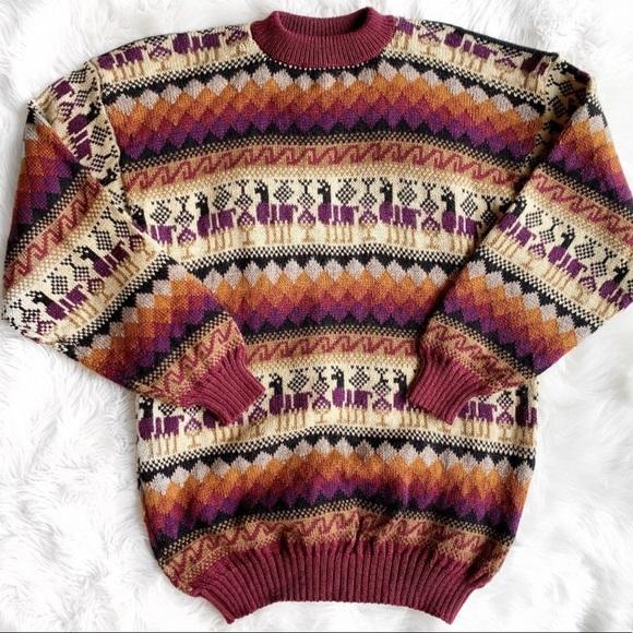 fafe0af4b Vintage Hand Knit Alpaca Llama Sweater J0781. M 5bb57a10aa8770b2aaabd131